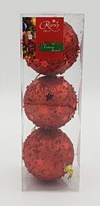 Set 3 globuri cu margelute si stelute, 80 mm, Rosu