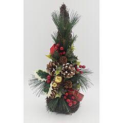 Bradut ratan, decorat cu fructe, conuri, zurgalai si fundite, 41 cm, Multicolor