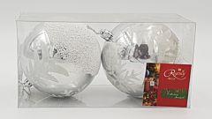 Set 2 globuri lucioase cu design bradut, 100 mm, Argintiu/Alb