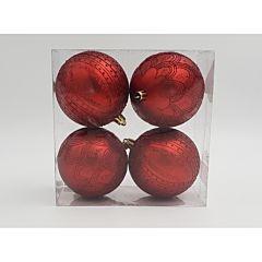 Set 4 globuri mate cu design gliterat, dimensiune glob 80mm, Rosu