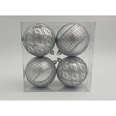 Set 4 globuri mate cu design gliterat, dimensiune glob 80mm, Argintiu