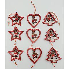 Set 9 ornamente lemn pirogravat, 23x2x7.5 cm, Multicolor