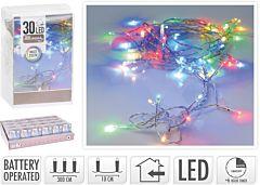 Instalatie cu baterii, 30 LED-uri, 3 m, Multicolor