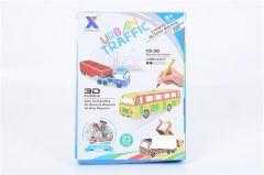 Joc puzzle 3d si colorat autocar, Piccolino