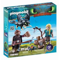Jucarie Playmobil Dragons III - Hiccup, Astrid si pui de dragon