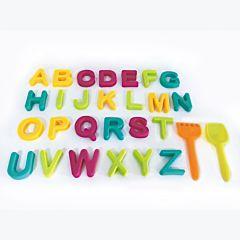 Set litere pentru plaja si ustensile pentru nisip, 28 piese, plastic, Multicolor