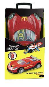 Geanta cu set de joaca masini sport, 1:64, 12 compartimente, 19cm x 34cm, plastic, Multicolor