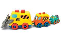 Set buldozer, camion de gunoi si betoniera, plastic, Multicolor