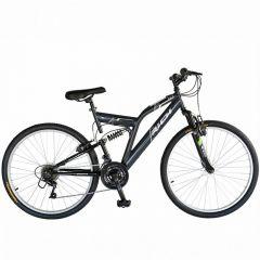 "Bicicleta munte, dubla suspensie, RICH R2649A, roata 26"", frana V-Brake, 18 viteze, gri/negru"