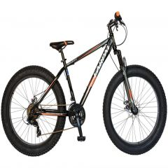 Bicicleta Fat Bike CARPAT Hercules 26 inch C2619B, cadru otel, frane mecanice disc, transmisie SHIMANO 18 viteze, culoare gri/portocaliu