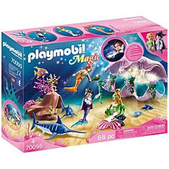 Jucarie Playmobil Sirene cu cochilie luminata, plastic, 38.5 x 28.4 x 9.4 cm, Multicolor