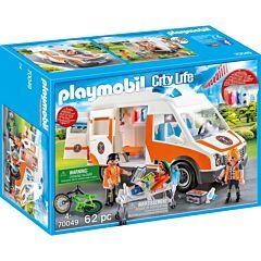 Jucarie Playmobil Ambulanta cu lumini si sunete, 34.8 x 24.8 x 12.5 cm, plastic, Multicolor