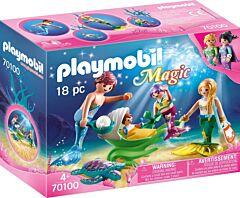 Jucarie Playmobil Familie de sirene, plastic, 18.7 x 14.2 x 7.2 cm, Multicolor