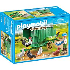 Jucarie Playmobil Cotet cu gaini, plastic, 18.7 x 14.2 x 7.2 cm, Multicolor