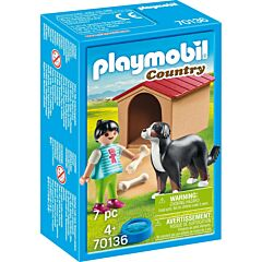 Jucarie Playmobil, Fetita cu catel si cusca, plastic, 9.3 x 14.2 x 4.5 cm, Multicolor
