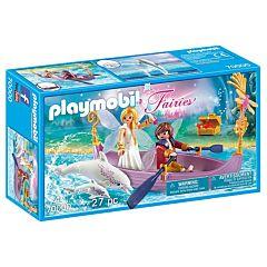 Jucarie Playmobil Barcuta zanelor cu un cuplu, plastic, 24.8 x 14.2 x 7 cm, Multicolor