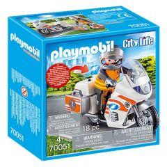 Jucarie Playmobil Motocicleta urgenta cu lumini, plastic, 14.2 x 14.2 x 6.6 cm, Multicolor