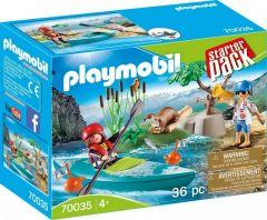 Jucarie Playmobil Set aventura cu caiac, plastic, 18.7 x 14.2 x 7.2 cm, Multicolor