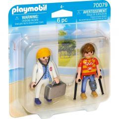Jucarii Playmobil Set 2 figurine Doctor si pacient, plastic, 15 x 15 x 4 cm, Multicolor
