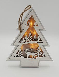 Decoratiune masa in forma de bradut, lemn, 6 LED-uri, 21 cm, Alb