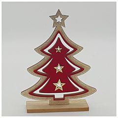 Decoratiune masa din lemn pirogravat in forma de bradut, 24 cm, Rosu/Auriu