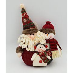 Ansamblu 3 figurine Craciun, material textil, 21 cm, Multicolor