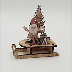 Saniuta din lemn cu Mos Craciun si bradut, 12x12.5x5 cm, Multicolor