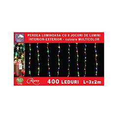 Instalatie perdea cu 400 LED, cu 8 jocuri lumini, cablu alimentare 3 m, Multicolor