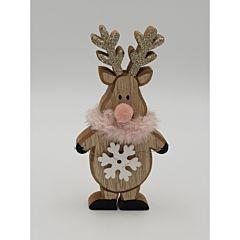 Figurina din lemn haioasa ren, cu nas si fular roz, 16 cm, Multicolor