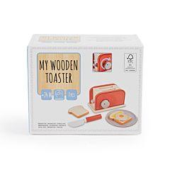 Set toaster din lemn cu accesorii, 7 piese, Multicolor