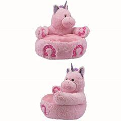 Fotoliu de plus in forma de unicorn, 47 cm, Roz