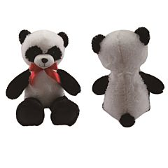 Urs panda de plus cu funda, 60 cm, Alb/Negru/Rosu