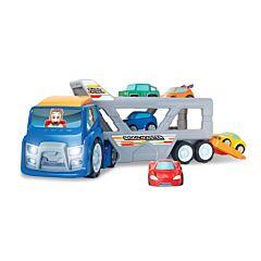 Transportator masini cu 5 vehicule incluse, plastic, Multicolor