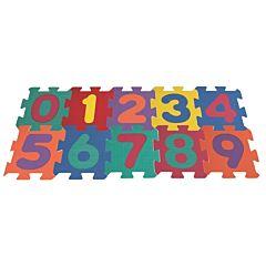 Covor tip puzzle cu numere, 10 piese, spuma, 32x10 cm, Multicolor