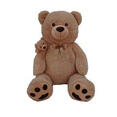 Urs de plus sezand cu pui, 130 cm, Bej