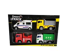 Set vehicule urbane, 4 piese, plastic, Multicolor