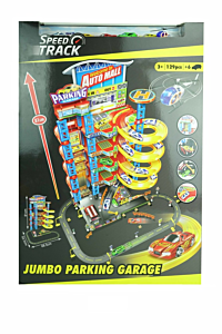 Set parcare si garaj cu 5 nivele, 129 piese, plastic, Multicolor