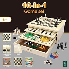 Set Jocuri de lemn 10 in 1, Multicolor