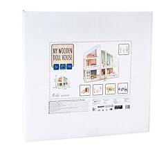 Casa pentru papusi din lemn, 19 piese, Multicolor