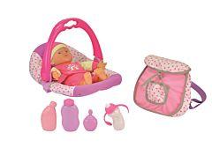 Papusa bebe cu ladou, 5 accesorii, Multicolor