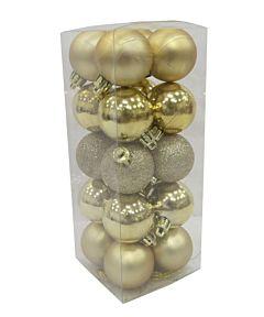 Set 20 de globuri, diametru 4 cm, 3 modele, Auriu