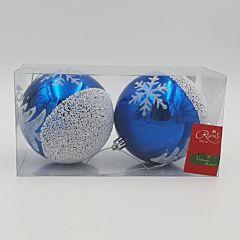 Set 2 globuri lucioase cu design bradut, 100 mm, Albastru/Alb