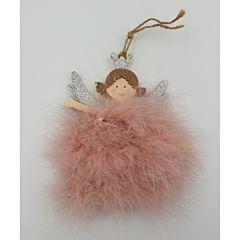 Ingeras din lemn cu rochita din puf roz, 14 cm, Multicolor
