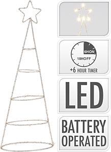 Decoratiune bradut cu LED, lumina alb cald, 40 cm