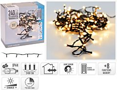 Instalatie tip sirag cu telecomanda, 240 LED-uri, 24 m, Alb cald