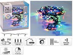 Instalatie tip sirag cu telecomanda, 240 LED-uri, 24 m, Multicolor