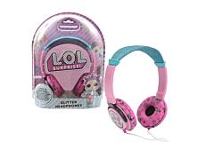 Casti audio pentru fetite LOL Surprize, cu sclipici, Roz