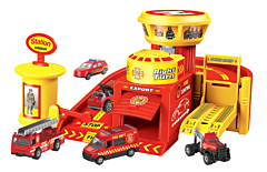 Baza cu 4 vehicule metalice, masini de politie, constructie si pompieri incluse, plastic, Multicolor