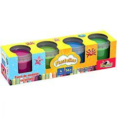 Set plastilina cu sclipici Plastelino, 4 culori