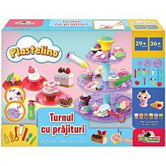 Set de joaca Turnul cu prajiturele Plastelino, 6 culori, 29 piese